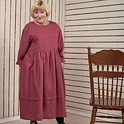 Одежда ручной работы. Ярмарка Мастеров - ручная работа Платье в стиле бохо цвета бургунди из льна. Handmade.