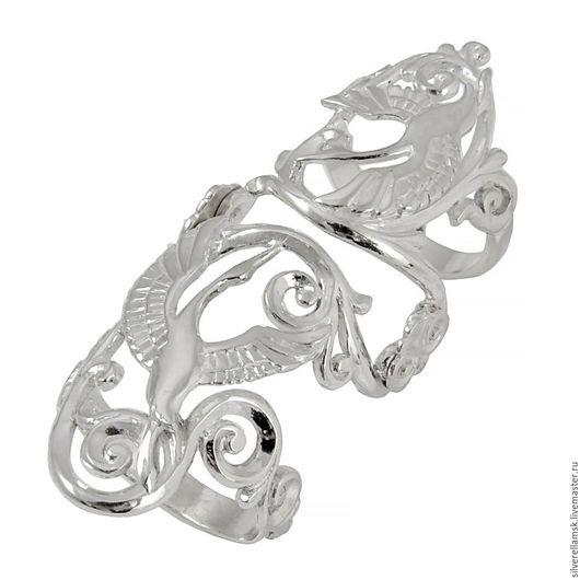 """Кольца ручной работы. Ярмарка Мастеров - ручная работа. Купить Серебряное кольцо на весь палец """"Влюбленные стерхи"""" USR012. Handmade. Серебряный"""