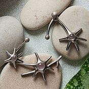 "Украшения handmade. Livemaster - original item Earrings ""Bur"" (silver, rose quartz). Handmade."