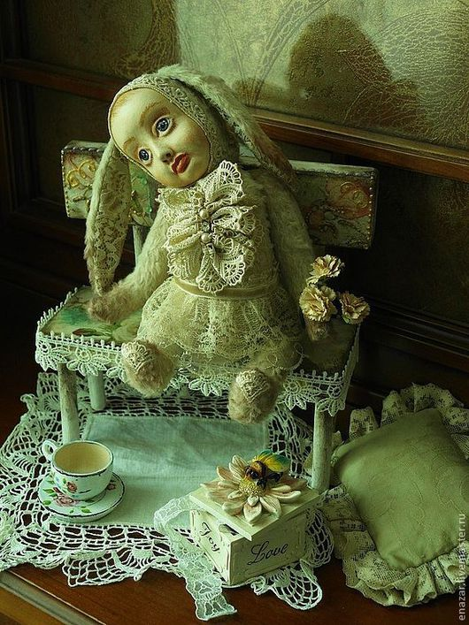 Коллекционные куклы ручной работы. Ярмарка Мастеров - ручная работа. Купить Зайка Агнесса. Дебют!. Handmade. Бежевый, нежность