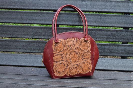 Женские сумки ручной работы. Ярмарка Мастеров - ручная работа. Купить Женская кожаная сумка. Handmade. Бордовый, сумка из кожи