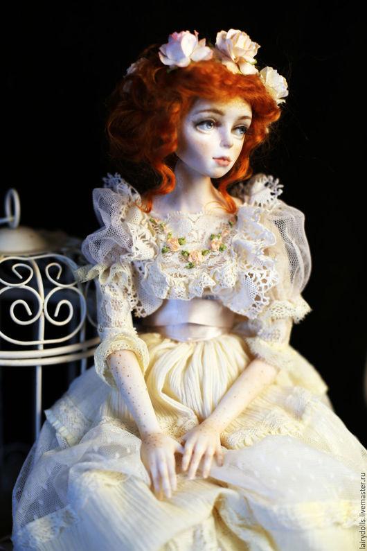Коллекционные куклы ручной работы. Ярмарка Мастеров - ручная работа. Купить Фарфоровая Вера. Handmade. Рыжий, балет, вышивка лентами