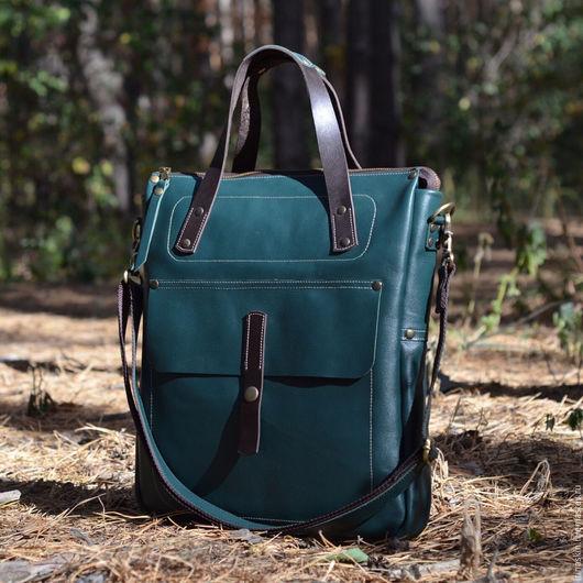 кожаный портфель темно-зеленый, Ирина Болдина, кожаный портфель для офиса, кожаная сумка на плечо, кожаная сумка формата А4