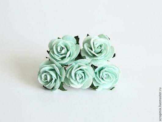 Открытки и скрапбукинг ручной работы. Ярмарка Мастеров - ручная работа. Купить Цветы розы 2,5 см цвет мятный. Handmade.