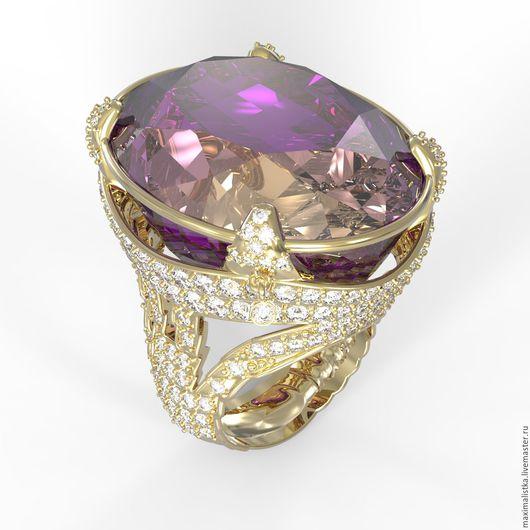 """Кольца ручной работы. Ярмарка Мастеров - ручная работа. Купить Золотое кольцо """"Лиловый рассвет"""" с аметрином и бриллиантами, золото. Handmade."""
