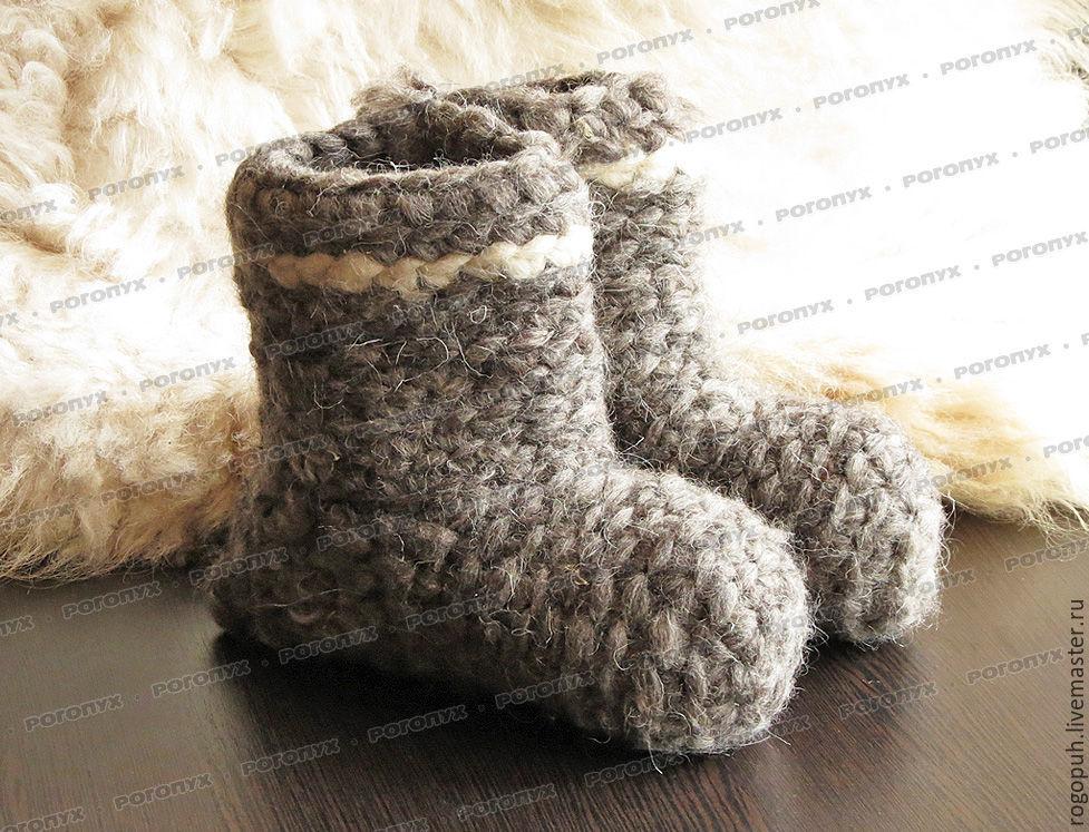Chuni sheep wool, grey # №2, Slippers, Nalchik,  Фото №1
