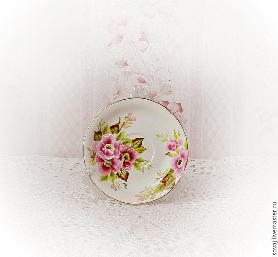 Decorative vase with painted 'wild Rose', Single Tea Sets, , Фото №1