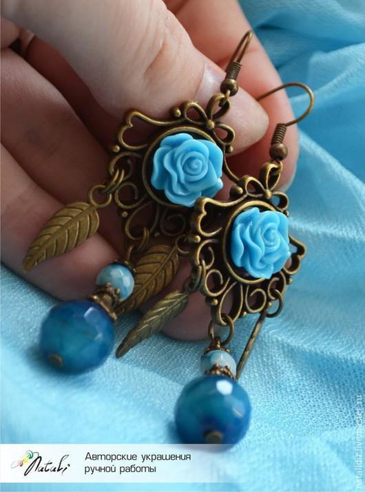 """Серьги ручной работы. Ярмарка Мастеров - ручная работа. Купить Серьги """"Розочки"""" с голубым агатом. Handmade. Голубой, голубые розы"""