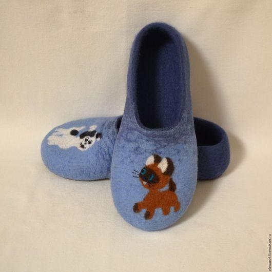 """Обувь ручной работы. Ярмарка Мастеров - ручная работа. Купить Валяные тапочки """"Котёнок Гав"""". Handmade. Тёмно-синий"""