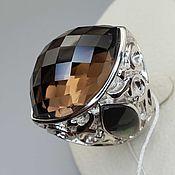 Украшения handmade. Livemaster - original item Silver ring with rauchtopaz 28h18 mm and mother of pearl. Handmade.