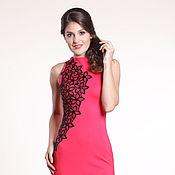 Одежда ручной работы. Ярмарка Мастеров - ручная работа 163: красное платье футляр, коктейльное платье,  платье со стразами. Handmade.