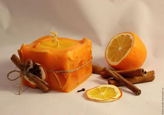 Свечи ручной работы. Ярмарка Мастеров - ручная работа. Купить Цитрус. Handmade. Оранжевый, свеча, ароматный подарок, стеарин, корица