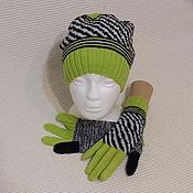 Аксессуары ручной работы. Ярмарка Мастеров - ручная работа Комплект: вязаные шапка и перчатки, зебра. Handmade.