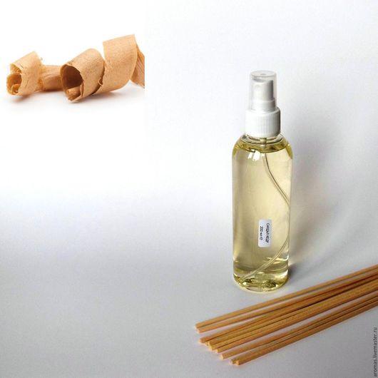 Ярмарка Мастеров - ручная работа. Купить Флакон с ароматической жидкостью Сандал-Кедр 200 мл на основе натуральных масел с ротанговыми палочками для ароматизатора-диффузора для дома. Handmade.