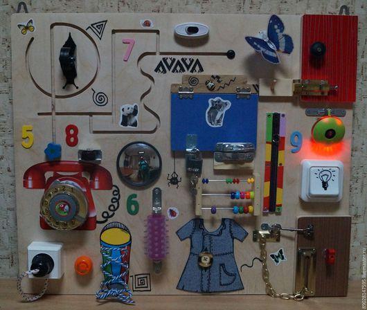 Развивающие игрушки ручной работы. Ярмарка Мастеров - ручная работа. Купить БИЗИБОРД РАЗВИВАЮЩАЯ ДОСКА. Handmade. Разноцветный, игрушка для детей