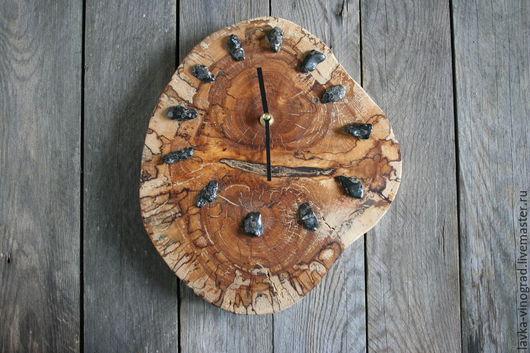 Часы для дома ручной работы. Ярмарка Мастеров - ручная работа. Купить Мраморные. Handmade. Коричневый, с драгоценными камнями, эко интерьер
