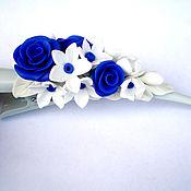 """Украшения ручной работы. Ярмарка Мастеров - ручная работа зажим для волос """"Синяя роза"""". Handmade."""