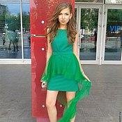 Одежда ручной работы. Ярмарка Мастеров - ручная работа Зеленое платье со шлейфом. Handmade.
