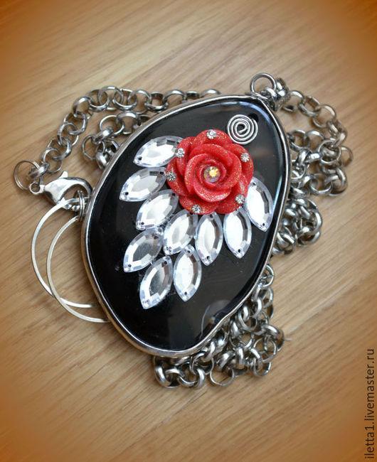 """Колье, бусы ручной работы. Ярмарка Мастеров - ручная работа. Купить Колье """"Fashion rose""""  родий (Агат). Handmade."""