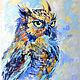 """Животные ручной работы. Ярмарка Мастеров - ручная работа. Купить Картина сова """"Хранитель Тайного Знания"""" картина маслом с совой. Handmade."""