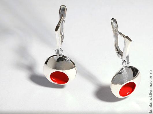 Серьги ручной работы. Ярмарка Мастеров - ручная работа. Купить Япония. Handmade. Ярко-красный, серебро 925 пробы, эмаль