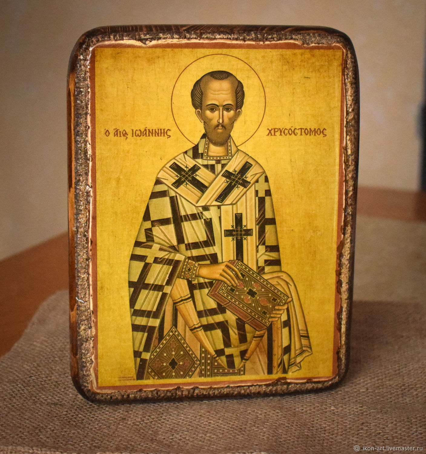 Icon Of St. John Chrysostom. Icons of mount Athos. Wood, canvas, gesso. Handmade. Icon made with soul