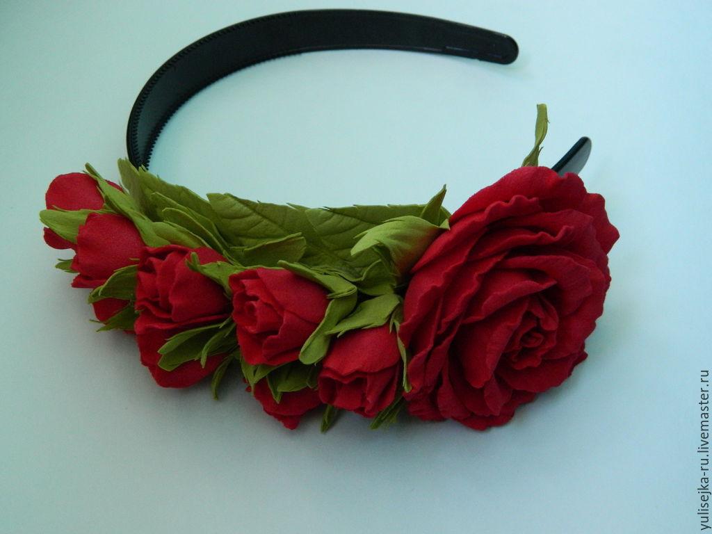 Купить Ободок с красными розами. - ярко-красный, красный