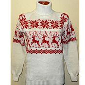 Одежда handmade. Livemaster - original item Sweater with reindeer and Norwegian ornament knitted Warm winter. Handmade.