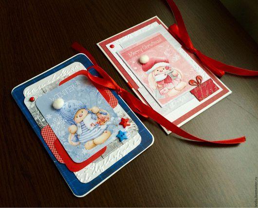 Открытки к Новому году ручной работы. Ярмарка Мастеров - ручная работа. Купить Открытки к новому году с зайками. Handmade.