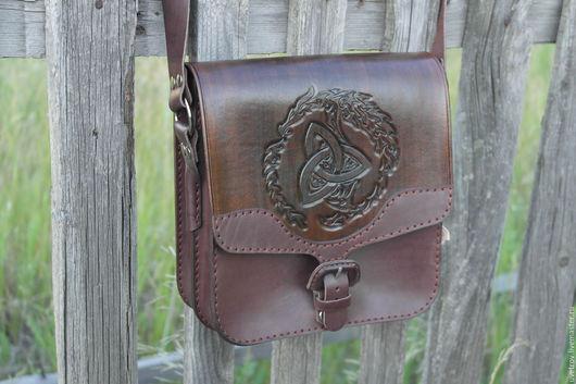 Мужские сумки ручной работы. Ярмарка Мастеров - ручная работа. Купить Сумка кожаная. Handmade. Коричневый, сумка через плечо