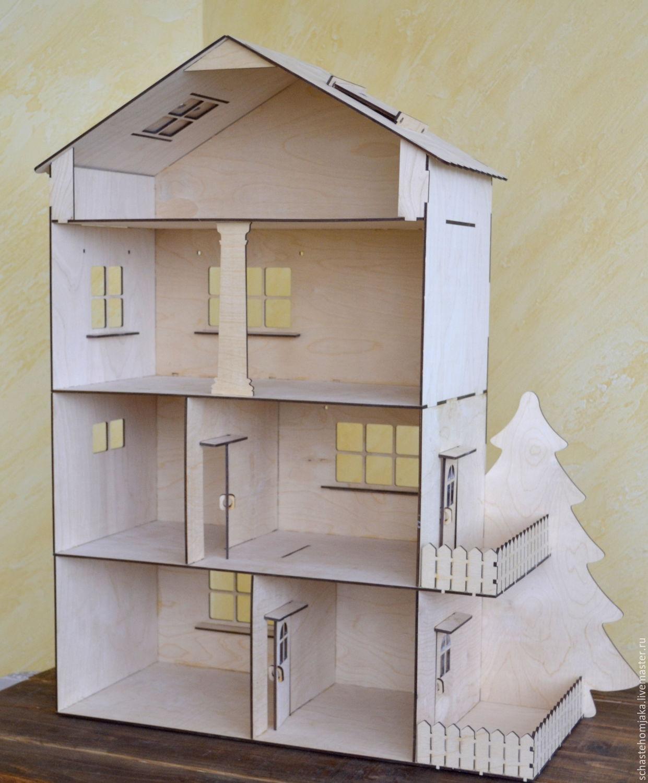 Купить 4 этажный кукольный домик с балконом, террасой и дере.