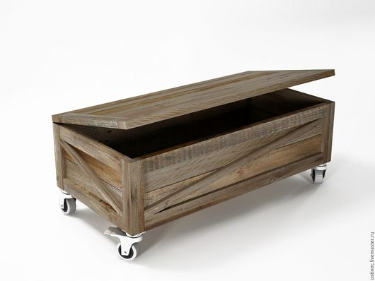 Мебель ручной работы. Ярмарка Мастеров - ручная работа. Купить Сундук комод на колесах Диана из массива. Handmade. Темно-серый