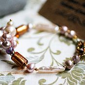 Украшения handmade. Livemaster - original item Bracelet No. №3 - Baroque pearls, amethyst, beads. Handmade.