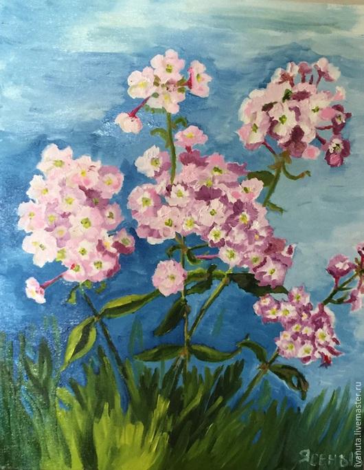 """Картины цветов ручной работы. Ярмарка Мастеров - ручная работа. Купить """"Флоксы"""". Handmade. Розовый, флоксы, цветы, лето"""