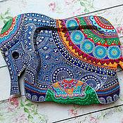 """Для дома и интерьера ручной работы. Ярмарка Мастеров - ручная работа Поднос """"Индийский слон"""". Handmade."""