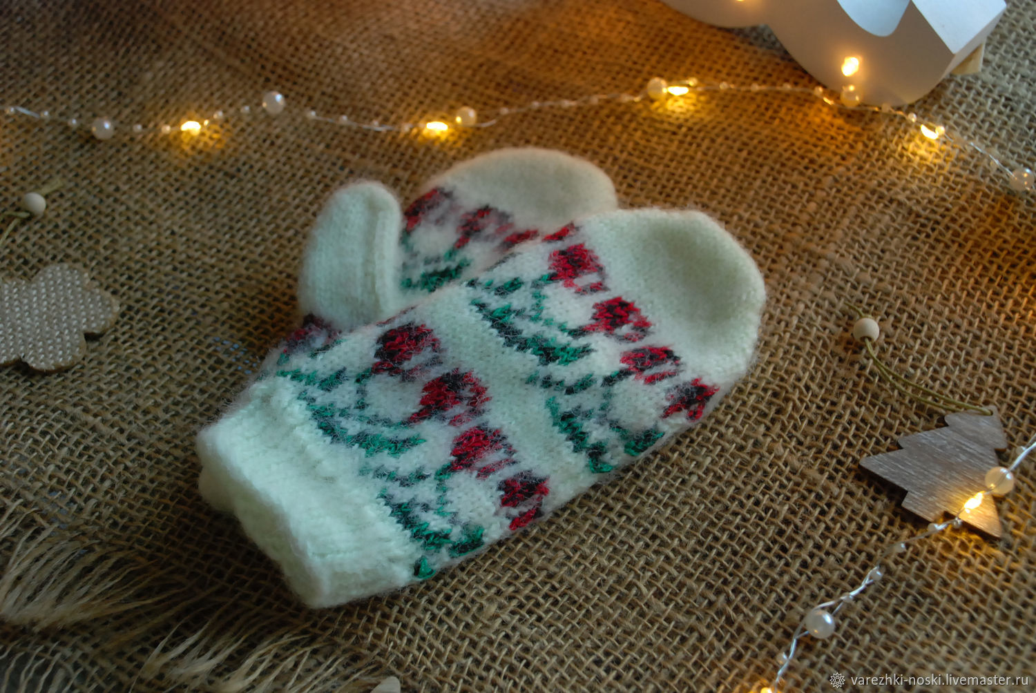 Mittens children's wool with cherries, Mittens, Moscow,  Фото №1