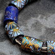 Украшения ручной работы. Ярмарка Мастеров - ручная работа колье из полимерной глины этно мокуме гане  уютное синее. Handmade.