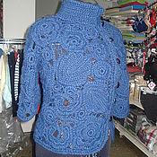 """Одежда ручной работы. Ярмарка Мастеров - ручная работа Жакет синий """"Морозные узоры"""". Handmade."""
