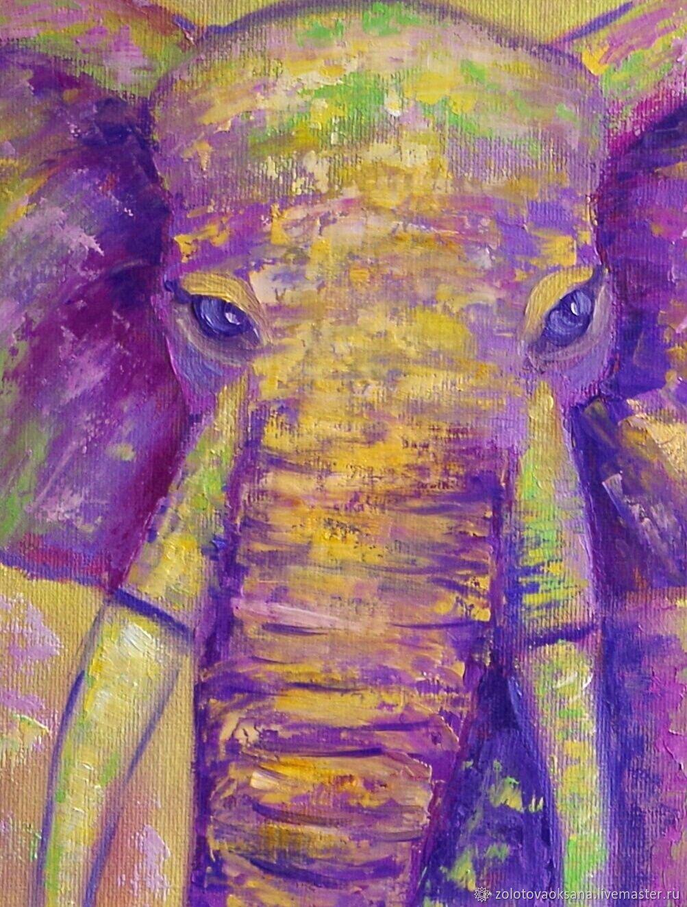 Картина маслом. Весёлый слон