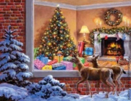 """Другие виды рукоделия ручной работы. Ярмарка Мастеров - ручная работа. Купить Картина по номерам на холсте """"В окно стучится Рождество"""" Худ. Ники Боэ. Handmade."""