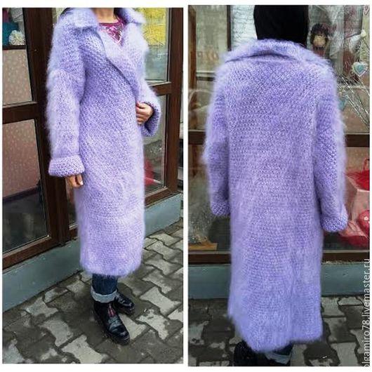 Верхняя одежда ручной работы. Ярмарка Мастеров - ручная работа. Купить Вязаное пальто из мохера. Handmade. Бледно-сиреневый