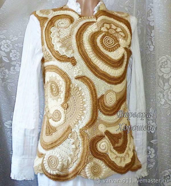 Warm knit vest 'Vanilla and chocolate', Vests, Stary Oskol,  Фото №1