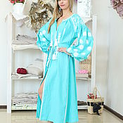 Одежда handmade. Livemaster - original item Turquoise long dress with white embroidery. Handmade.