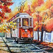 """Картины и панно ручной работы. Ярмарка Мастеров - ручная работа Картина """"Осенний трамвай"""". Handmade."""