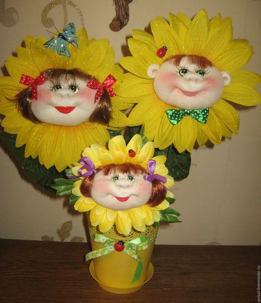 """Детская ручной работы. Ярмарка Мастеров - ручная работа. Купить Интерьерная композиция """"Цветики-цветочки"""". Handmade. Желтый, купить подарок"""