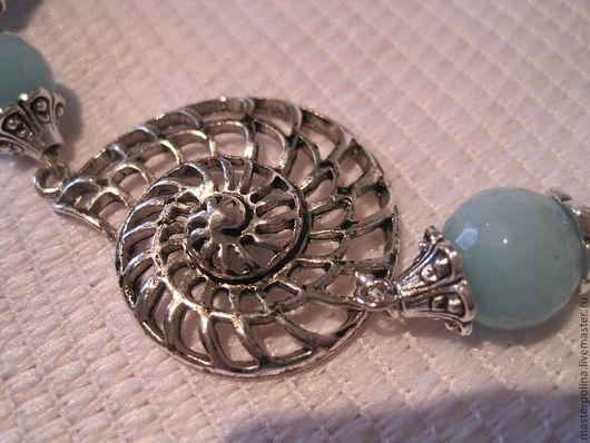 """Браслеты ручной работы. Ярмарка Мастеров - ручная работа. Купить Браслет """"Аммонит в серебре"""". Handmade. Голубой, подарок"""