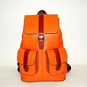 Сумки и аксессуары handmade. Livemaster - original item Backpack women`s leather orange