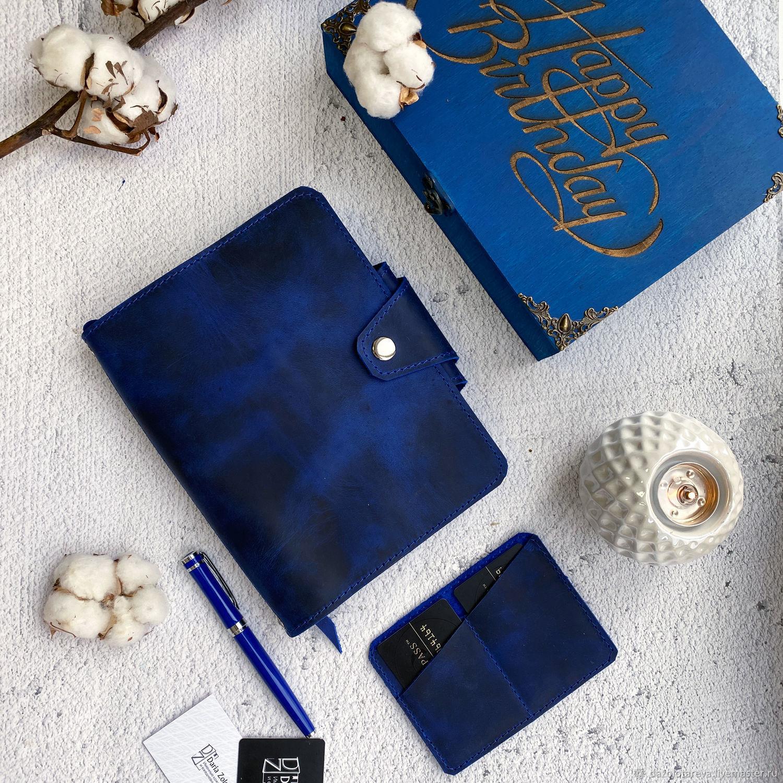 Кожаный синий  блокнот-органайзер модель Классика, Блокноты, Москва,  Фото №1