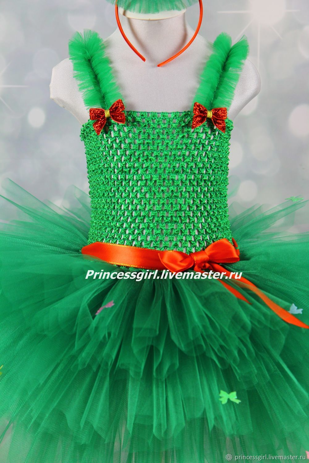 f02e191c Green Kids' Carnival Costumes handmade. Suit Christmas trees. Little  Princess. Online shopping on