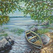 Картины ручной работы. Ярмарка Мастеров - ручная работа Картина с пейзажем с лодкой(холст,масло). Handmade.